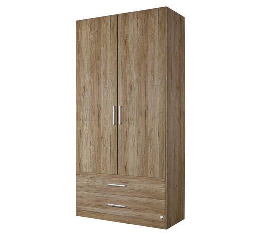 DREHTÜRENSCHRANK in Eichefarben - Eichefarben/Silberfarben, Design, Holzwerkstoff/Kunststoff (91/197/54cm) - Carryhome
