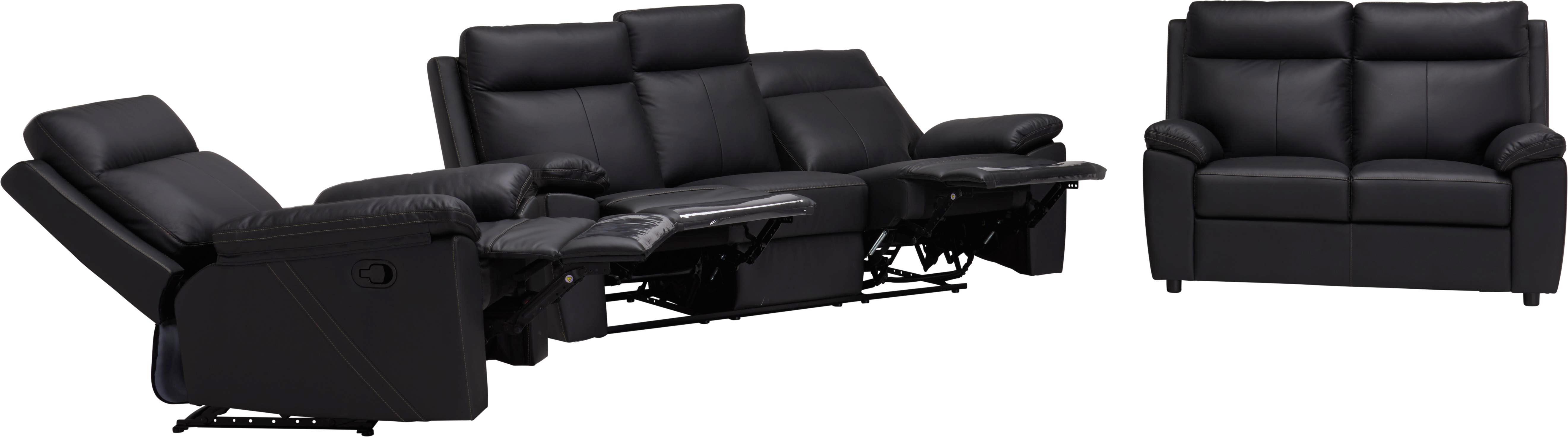SOFFGRUPP - creme/svart, Klassisk, läder/textil (199/103/92cm) - Xora