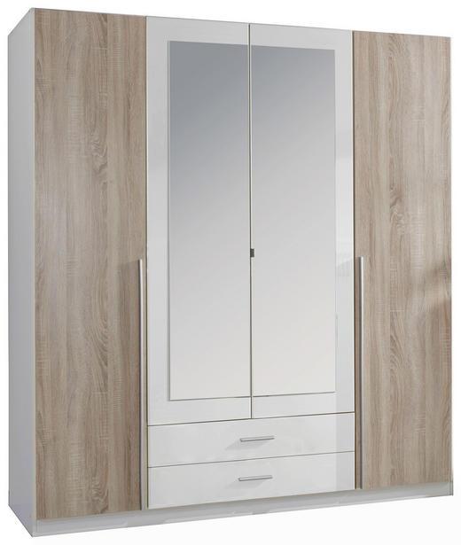 DREHTÜRENSCHRANK 4-türig Eichefarben, Weiß - Eichefarben/Alufarben, Design, Holzwerkstoff/Kunststoff (180/197/58cm) - Carryhome