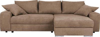WOHNLANDSCHAFT in Textil Beige - Chromfarben/Beige, Design, Textil/Metall (283/179cm) - Hom`in