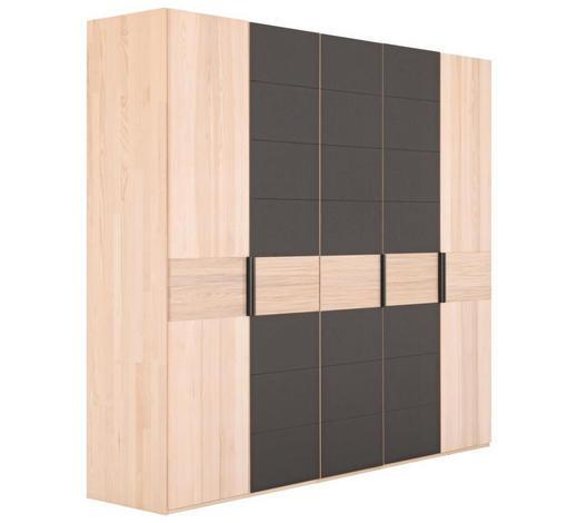 KLEIDERSCHRANK in massiv Kernesche Eschefarben, Dunkelbraun  - Dunkelbraun/Eschefarben, Design, Glas/Holz (249,6/224,6/57cm) - Valdera