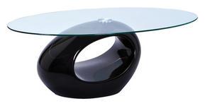COUCHTISCH in Kunststoff, Glas 110/60/40 cm   - Schwarz, Basics, Glas/Kunststoff (110/60/40cm) - Carryhome