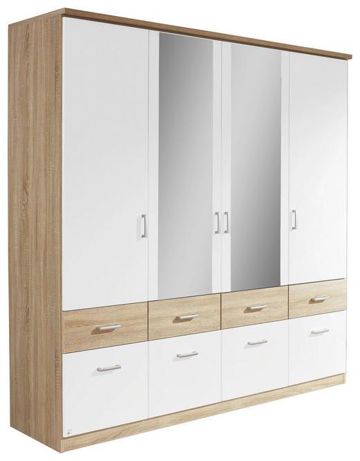 KLEIDERSCHRANK 4-türig Weiß, Eichefarben - Eichefarben/Silberfarben, Design, Holzwerkstoff/Kunststoff (181/199/56cm) - Carryhome