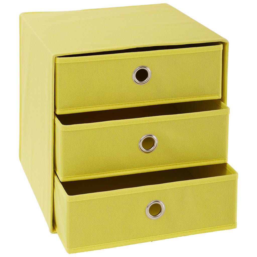 Image of Carryhome Faltbox , Cubus 3 , Gelb, Silberfarben , Metall, Textil, Karton , 32x32x31.5 cm , vernickelt,Vliesstoff , faltbar , 001635001206