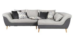WOHNLANDSCHAFT in Textil Grau, Hellgrau  - Hellgrau/Naturfarben, Design, Holz/Textil (313/175cm) - Carryhome