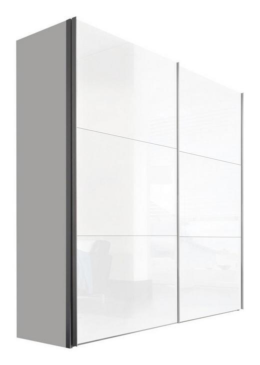 SCHWEBETÜRENSCHRANK 2-türig Weiß - Alufarben/Weiß, KONVENTIONELL, Holzwerkstoff/Metall (200/216/68cm) - Hom`in