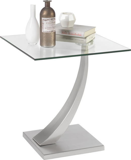 BEISTELLTISCH quadratisch Silberfarben - Silberfarben, Design, Glas/Metall (45,5/50/45,5cm) - Xora
