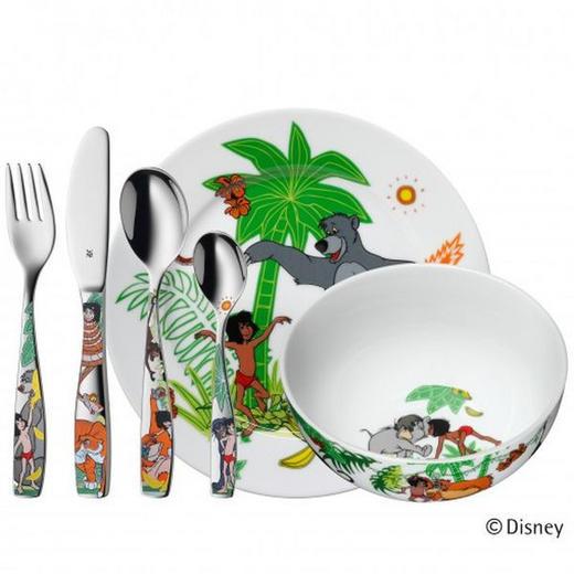 KINDERGESCHIRRSET Porzellan 6-teilig - Weiß/Grün, KONVENTIONELL, Keramik/Metall (40/26/10,5cm) - WMF