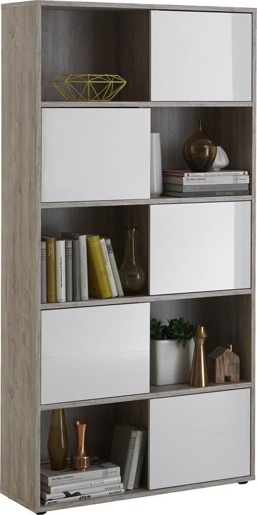 REGAL Weiß, Eichefarben - Eichefarben/Schwarz, Design, Kunststoff (90/182/33cm) - Carryhome