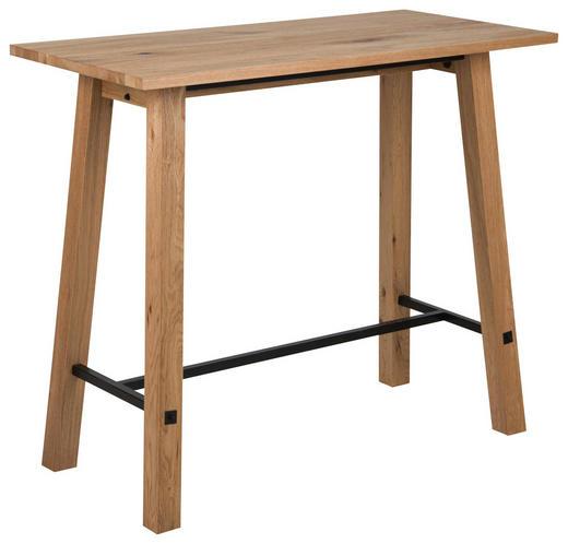 BARTISCH Eiche furniert, massiv rechteckig Eichefarben, Schwarz - Eichefarben/Schwarz, Design, Holz/Metall (120/60/105cm) - Carryhome