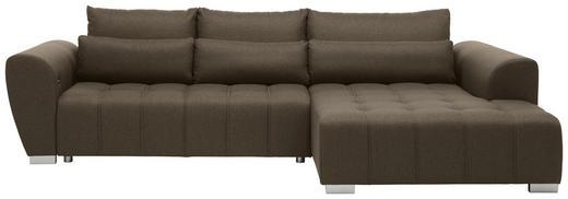 WOHNLANDSCHAFT Braun, Grau Webstoff - Silberfarben/Braun, MODERN, Kunststoff/Textil (304/218cm) - Carryhome