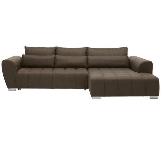 WOHNLANDSCHAFT in Textil Braun, Grau  - Silberfarben/Braun, MODERN, Kunststoff/Textil (304/218cm) - Carryhome
