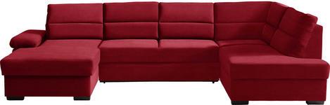 WOHNLANDSCHAFT in Rot Textil - Dunkelbraun/Rot, KONVENTIONELL, Kunststoff/Textil (166/319/183cm) - Cantus