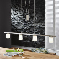 LED ZÁVĚSNÉ SVÍTIDLO - barvy niklu, Konvenční, kov/sklo (90/5,8/150cm)