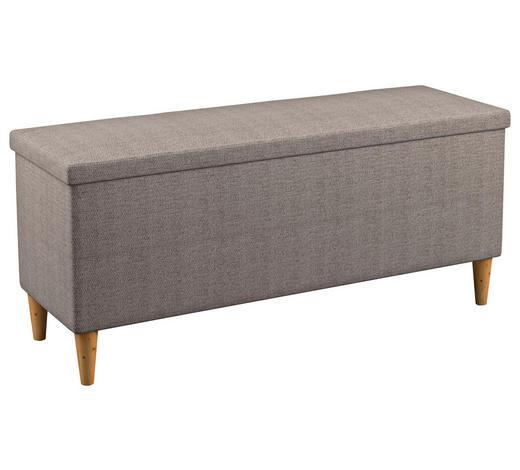 BETTBANK - Eichefarben/Beige, Design, Holz/Textil (151/59/39cm) - Linea Natura