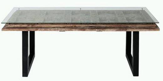 ESSTISCH Mangoholz massiv rechteckig - Schwarz, Design, Glas/Holz (200/90/78cm) - Kare-Design