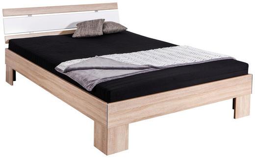 FUTONBETT in Holzwerkstoff Weiß, Eichefarben - Eichefarben/Weiß, KONVENTIONELL, Holzwerkstoff/Textil (140/200cm) - Carryhome