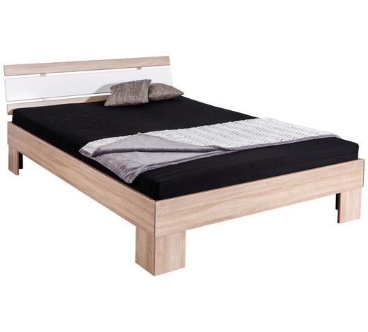 FUTONOVÁ POSTEL, 140/200 cm, kompozitní dřevo, bílá, barvy dubu - bílá/barvy dubu, Konvenční, kompozitní dřevo/textil (140/200cm) - Carryhome