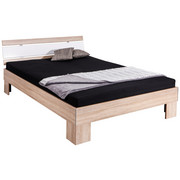 FUTONSKA POSTELJA 200 cm   x 140 cm  , leseni material bela, hrast - hrast/bela, Konvencionalno, tekstil/leseni material (140/200cm) - Xora
