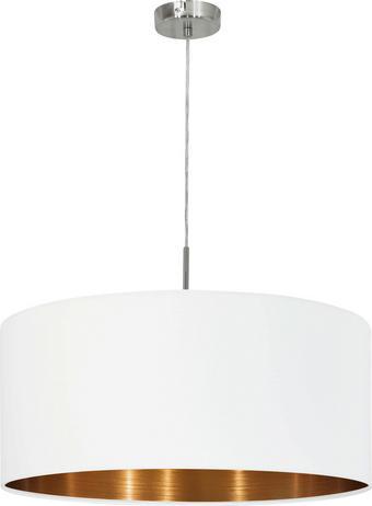 HÄNGELEUCHTE - Weiß/Kupferfarben, Design, Textil/Metall (53/110cm)