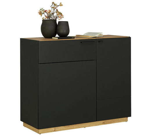 KOMODA - černá/barvy dubu, Design, kompozitní dřevo/umělá hmota (100/84/41,5cm)