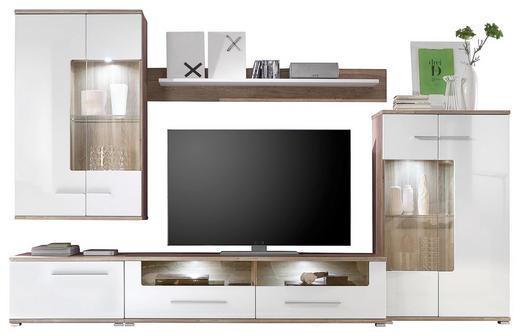 WOHNWAND Eichefarben, Weiß - Eichefarben/Silberfarben, Design, Glas/Holzwerkstoff (310/195/45cm) - Carryhome