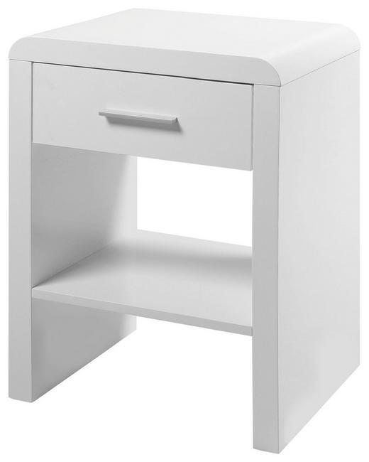 NACHTKÄSTCHEN Hochglanz, lackiert Weiß - Silberfarben/Weiß, Design, Holzwerkstoff/Metall (45/59/35cm) - Carryhome