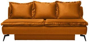 SCHLAFSOFA in Textil Orange  - Schwarz/Orange, MODERN, Textil/Metall (208/100/112cm) - Novel