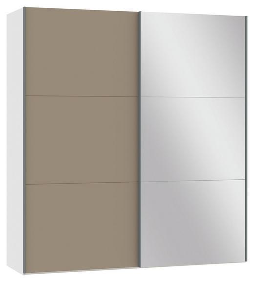SCHWEBETÜRENSCHRANK 2-türig Hellbraun, Schwarz - Hellbraun/Silberfarben, Design, Glas/Metall (202,5/220/46cm) - Jutzler