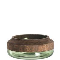 MISKA DEKORAČNÍ - zelená/hnědá, Konvenční, dřevo/sklo (24,80/10,00cm) - Leonardo