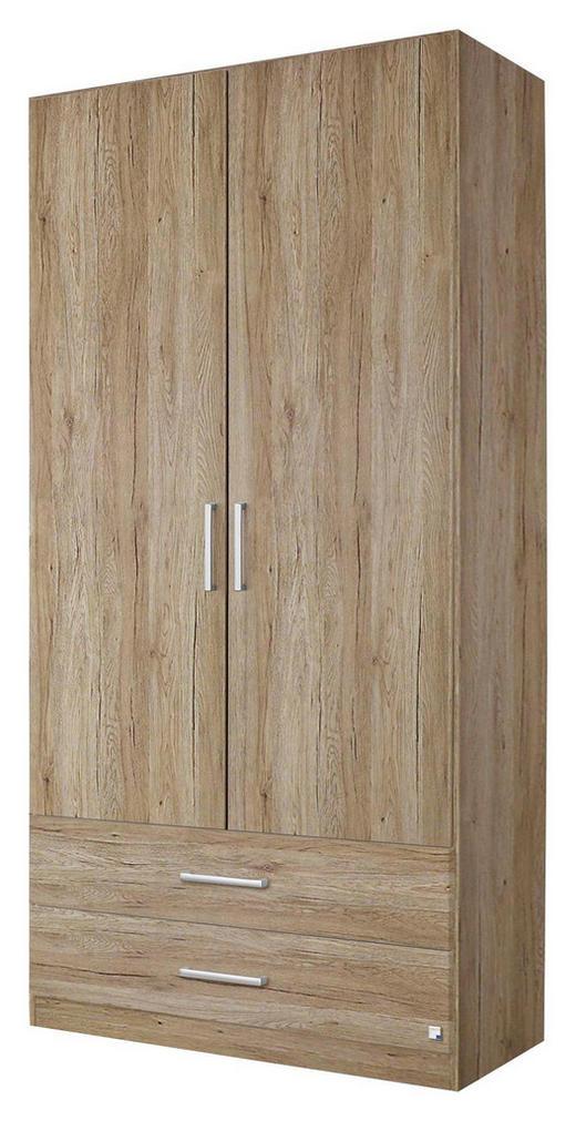 DREHTÜRENSCHRANK Eichefarben - Eichefarben/Silberfarben, Design, Holzwerkstoff/Kunststoff (91/197/54cm) - Carryhome