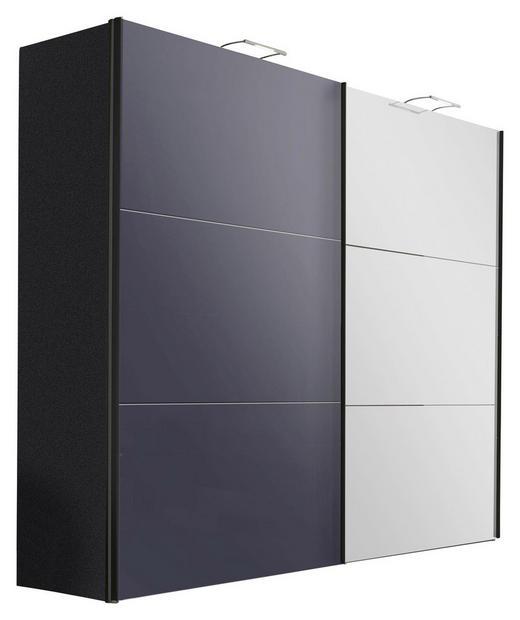 SCHWEBETÜRENSCHRANK 2-türig Graphitfarben - Graphitfarben, Design, Glas/Holzwerkstoff (250/216/68cm) - Hom`in