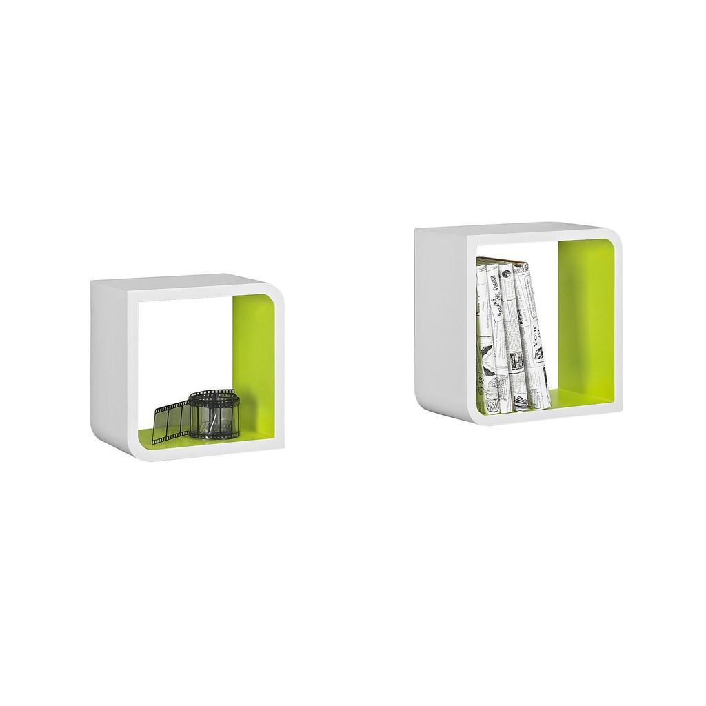 Xora SADA NÁSTĚNNÝCH REGÁLŮ, zelená, bílá, - zelená, bílá