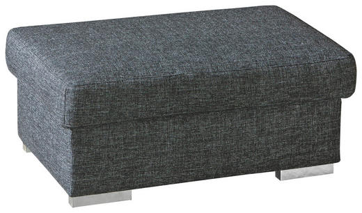 HOCKER in Textil Anthrazit - Chromfarben/Anthrazit, KONVENTIONELL, Textil/Metall (100/45/60cm) - Novel
