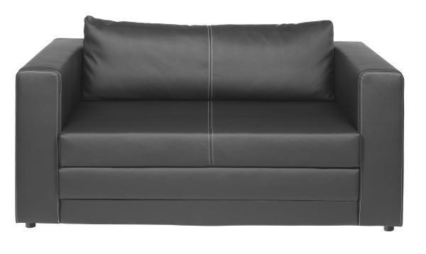 SCHLAFSOFA Lederlook Schwarz - Schwarz/Weiß, Design, Kunststoff/Textil (150/78/70cm) - CARRYHOME