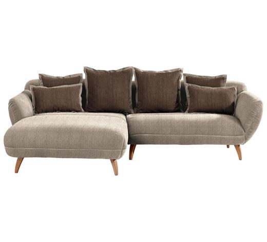WOHNLANDSCHAFT in Textil Dunkelbraun, Hellbraun - Hellbraun/Dunkelbraun, Design, Holz/Textil (175/280cm) - Carryhome