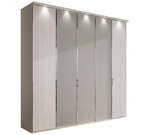 DREHTÜRENSCHRANK in Grau, Lärchefarben - Chromfarben/Lärchefarben, KONVENTIONELL, Glas/Holzwerkstoff (250/216/68cm) - Xora