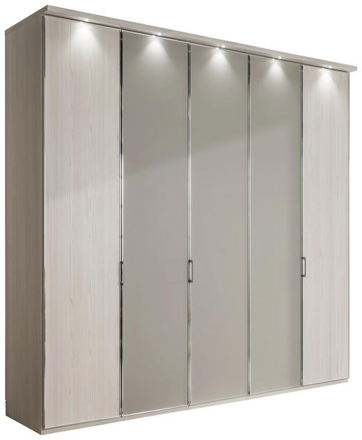 DREHTÜRENSCHRANK 5-türig Grau, Lärchefarben - Chromfarben/Lärchefarben, MODERN, Glas/Holzwerkstoff (250/216/68cm) - Xora