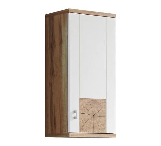 HÄNGESCHRANK Weiß, Eichefarben  - Eichefarben/Silberfarben, Design, Holzwerkstoff/Kunststoff (38/77/23cm) - Xora