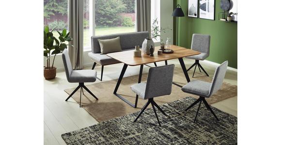 SITZBANK Lederlook Eiche massiv Schwarz, Eichefarben, Dunkelbraun  - Eichefarben/Dunkelbraun, Design, Holz/Textil (180/87/64cm) - Voleo