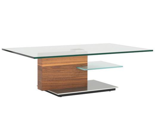 COUCHTISCH in Holz, Metall, Glas 125/75/40 cm - Chromfarben/Nussbaumfarben, Design, Glas/Holz (125/75/40cm)