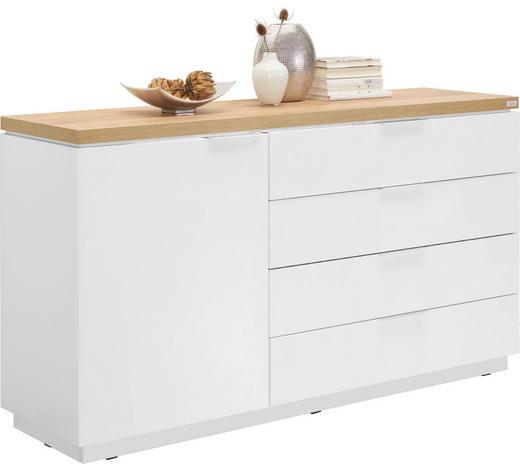 KOMMODE Hochglanz, Melamin Weiß  - Eichefarben/Alufarben, Design, Holzwerkstoff (157,5/88,5/43cm) - Xora