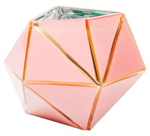 VASE  - Goldfarben/Rosa, Design, Glas (19/14/19cm) - Kare-Design