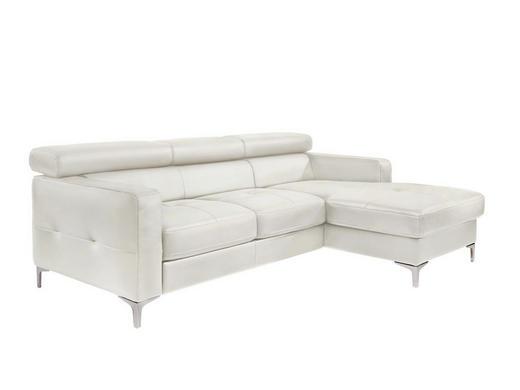 Ecksofa Weiß Bettkasten, Schlaffunktion - Silberfarben/Weiß, Design, Textil (226/169cm) - Carryhome
