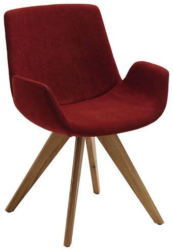 STUHL Webstoff Bordeaux, Eichefarben - Eichefarben/Bordeaux, Design, Holz/Textil (63/86/57cm) - VALDERA