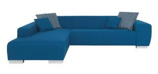 WOHNLANDSCHAFT in Türkis Textil - Türkis/Chromfarben, Design, Kunststoff/Textil (192/298cm) - Xora