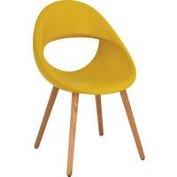 STUHL in Holz, Kunststoff Eichefarben, Gelb - Eichefarben/Gelb, MODERN, Holz/Kunststoff (53/87/55cm)