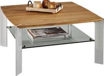 COUCHTISCH in Holz, Metall, Glas 80/80/41 cm   - Edelstahlfarben/Eichefarben, MODERN, Glas/Holz (80/80/41cm) - Linea Natura