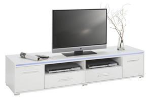 MEDIABÄNK - vit/silver, Design, träbaserade material/plast (188/38/45cm) - Low Price