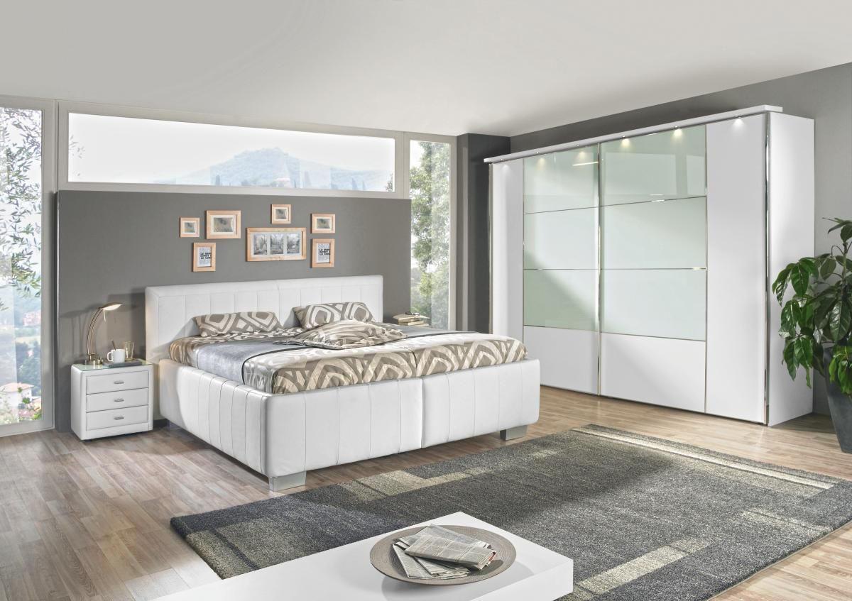 POLSTERBETT 180 cm   x 200 cm   in Leder Weiß - Silberfarben/Weiß, KONVENTIONELL, Leder/Holz (180/200cm) - ADA AUSTRIA